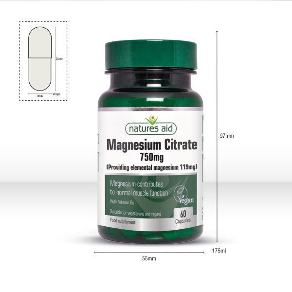 Magnesium Citrate 750mg 60's Caps - 146920_Dimensions